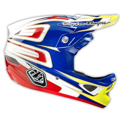 Casque composite Troy Lee Designs D3 - Speed Blue - White - Blanc