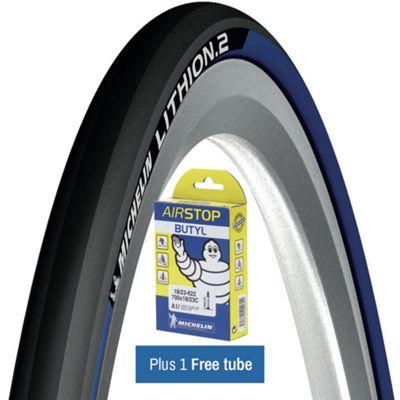 Pneu route Michelin Lithion 2 Bleu + chambre à air gratuite
