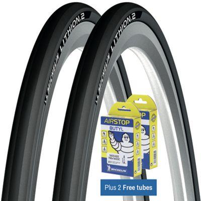 Pneu Route Michelin Lithion 2 25c Gris + Chambres à air GRATUITES