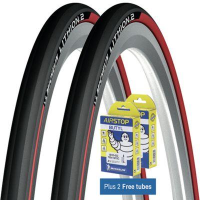 Pneu Route Michelin Lithion 2 Rouge + Chambres à air GRATUITES