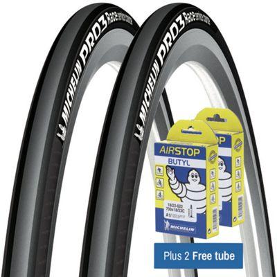 Pneu route Michelin Pro 3 Races gris + Chambres à air GRATUITES