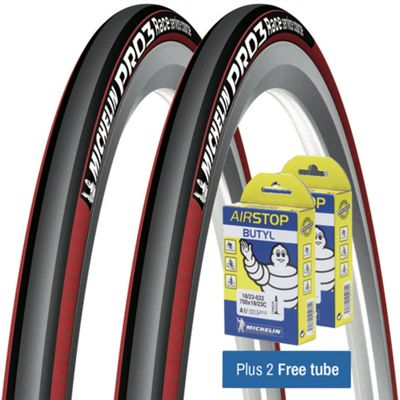 Pneu Route Michelin Pro 3 Races Rouge + Chambres à air GRATUITES