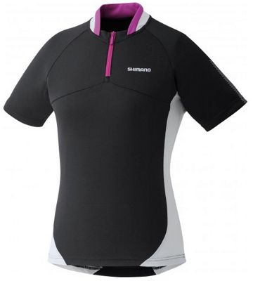 Maillot Route Shimano Femme Half Zip manches courtes