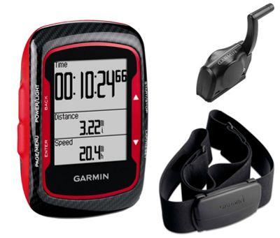 Compteur GPS rouge Garmin Edge 500 avec moniteur cardiaque et capteur de cadence