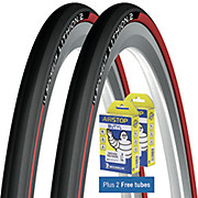Michelin Lithion 2 Tyres Red 23c + FREE Tubes