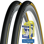 Michelin Lithion 2 Tyres Yellow 23c + FREE Tubes