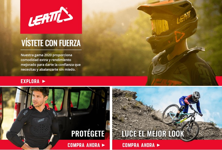 Picture of a cyclist wearing Leatt full face helmet, goggles and neck brace with a picture of a mountain biker wearing Leatt body protection and a trail rider wearing Leatt clothing