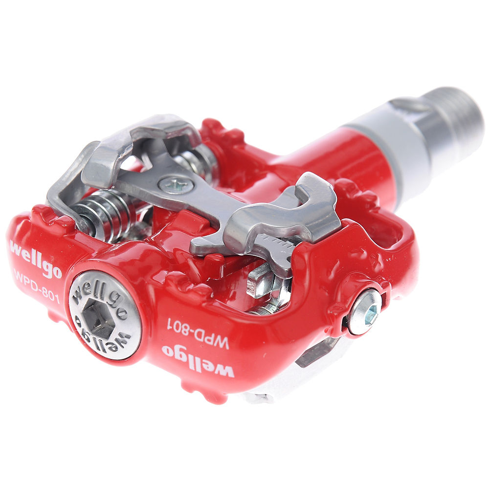 Wellgo WPD801 Clipless SPD MTB Pedal - Red, Red