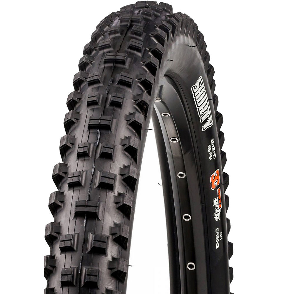 Maxxis Shorty DH Mountain Bike Tyre (3C) - Black - Wire Bead, Black