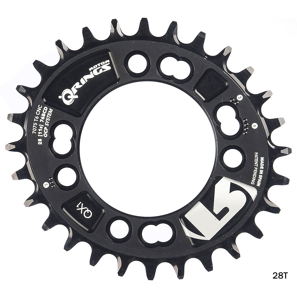 Rotor QX1 Narrow Wide Oval Chainring - Black - 4-Bolt, Black