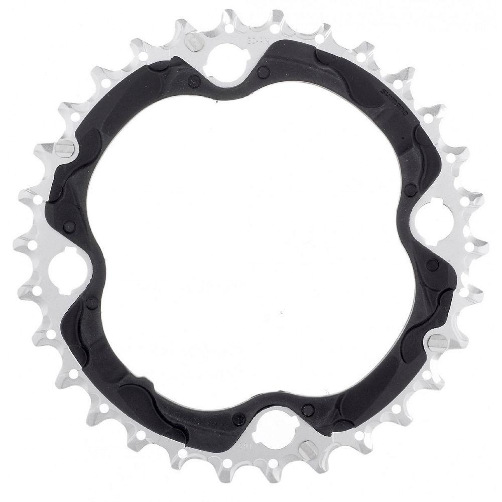 Shimano XT FCM782 10 Speed Triple Chainring - Black Silver - 4-Bolt, Black Silver