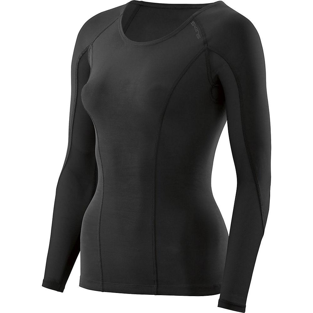 Skins Womens DNAmic Long Sleeve Top - Black-Black - XL, Black-Black
