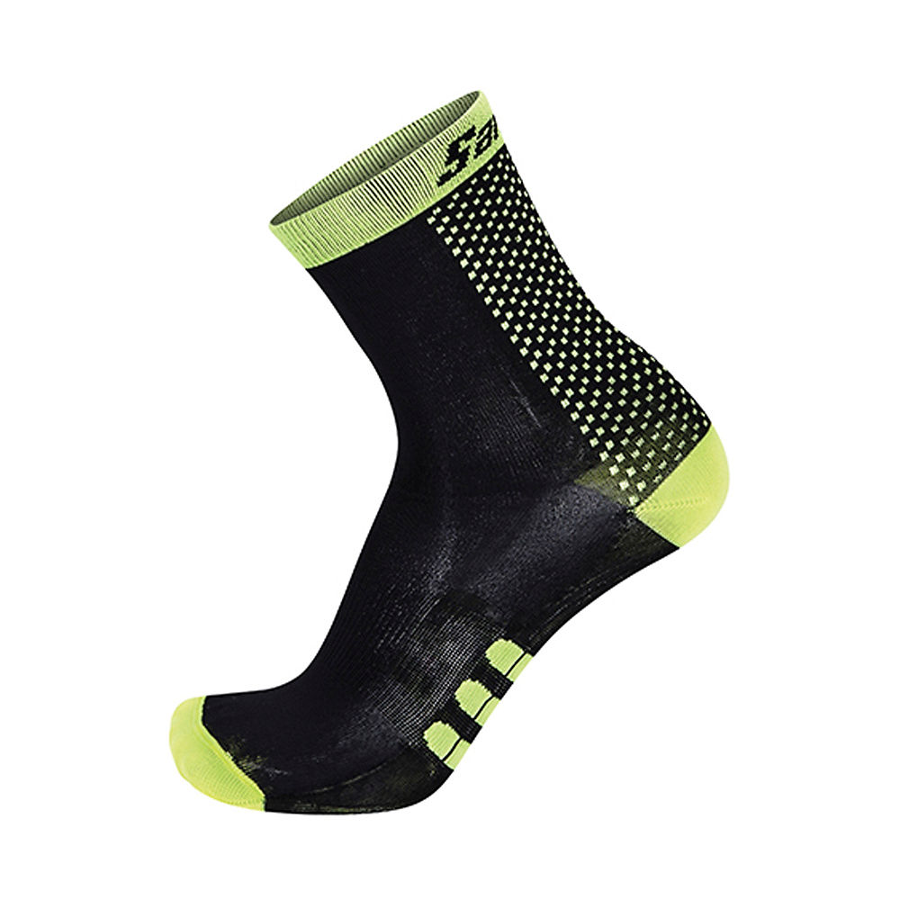 Image of Chaussettes Santini Two Medium Profile Qskin - Noir - Jaune - XS/S, Noir - Jaune