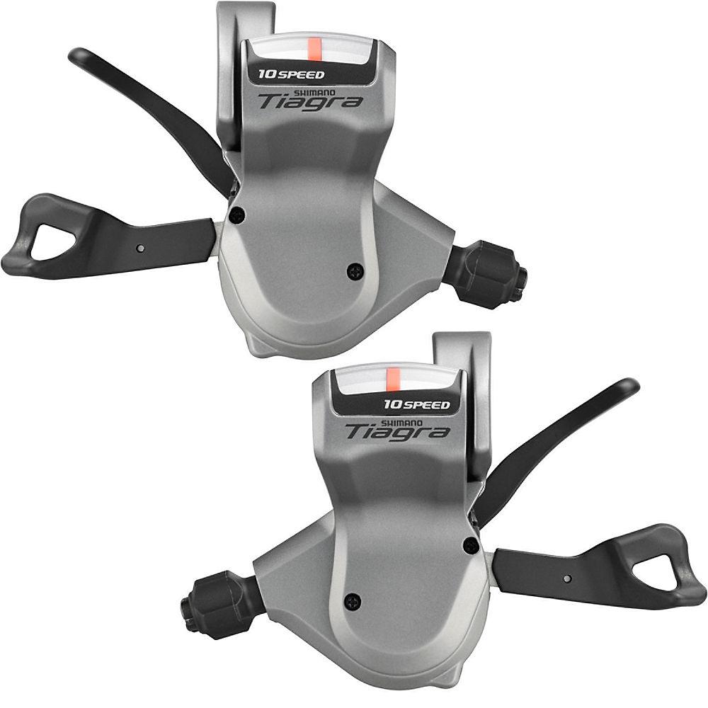 Shimano Tiagra 4600 2x10sp Flat Bar Shifter Set – Silver – Pair, Silver