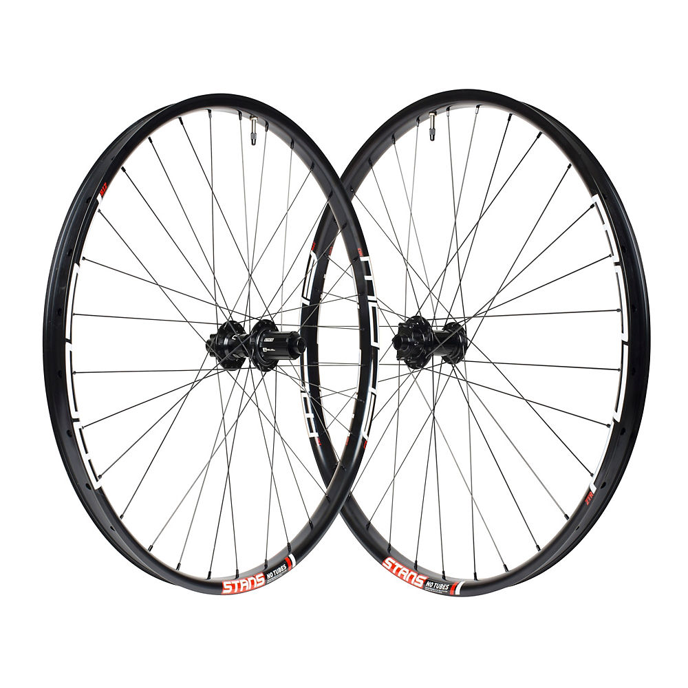 Stans No Tubes Flow Mk3 Mountain Bike Wheelset - Black - 15 X 110mm Frontand148 X 12mm Rear  Black