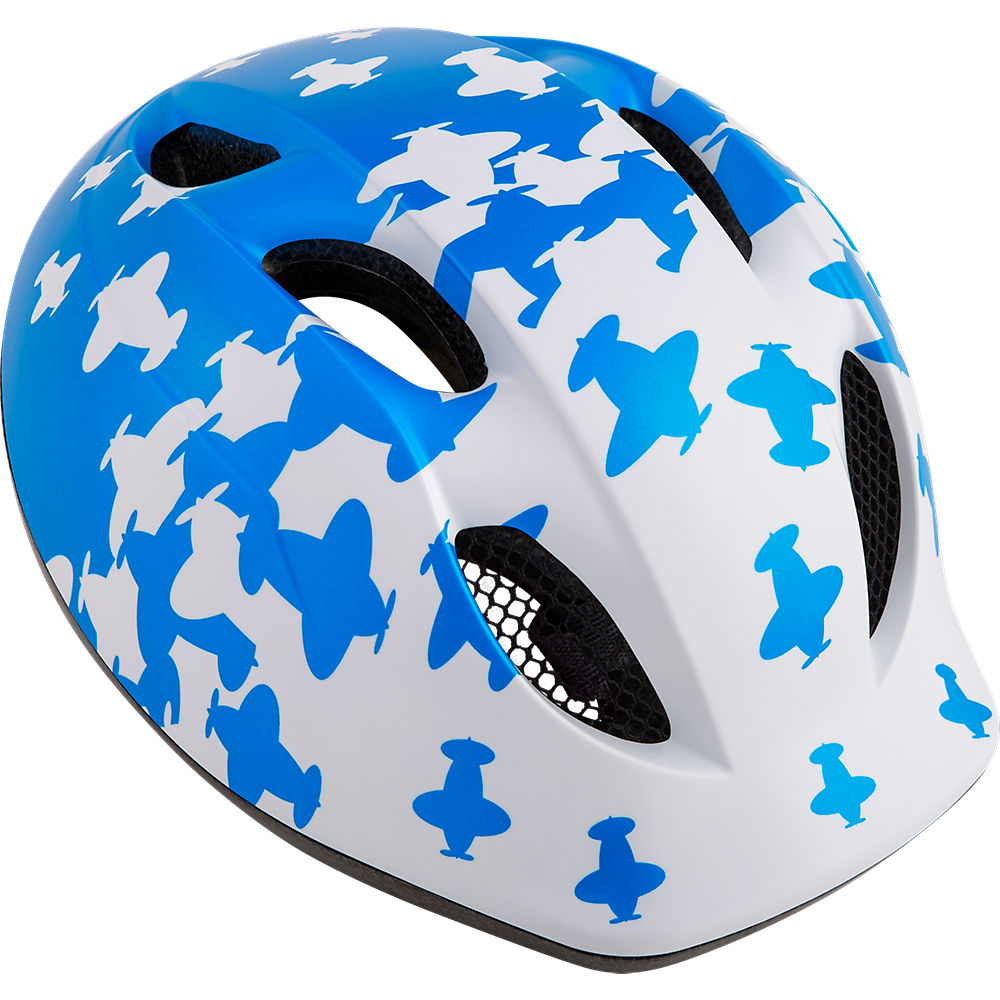 Image of MET Super Buddy Kids Cycling Helmet - White / Blue Airplanes / Unisize