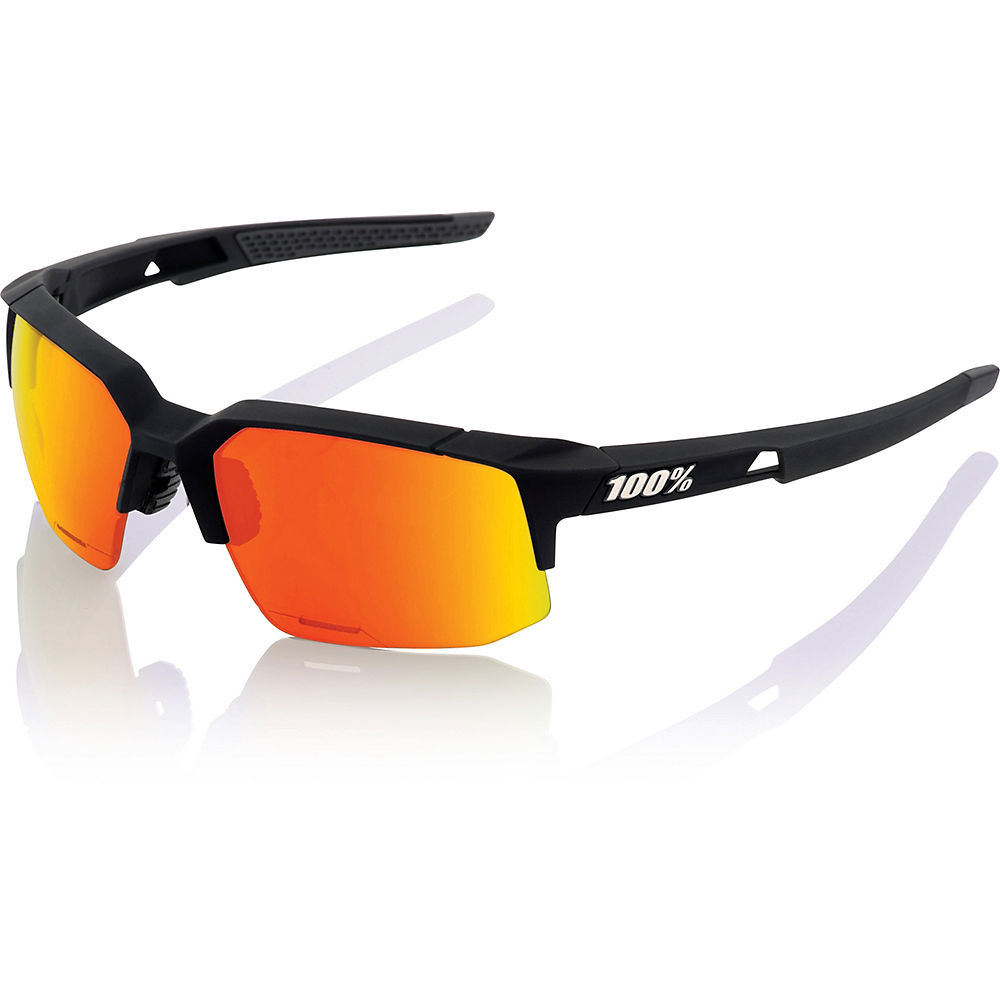 100% Speedcoupe Sport Sunglasses-mirror Lens - Soft Tact Black - Red Multi Mirror  Soft Tact Black - Red Multi Mirror