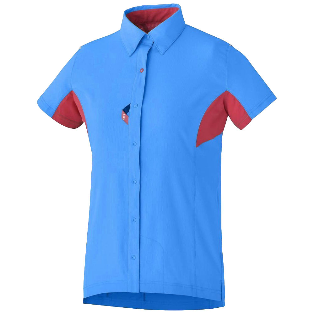 Shimano Womens Button Up Shirt  - Blue - Red - XL, Blue - Red