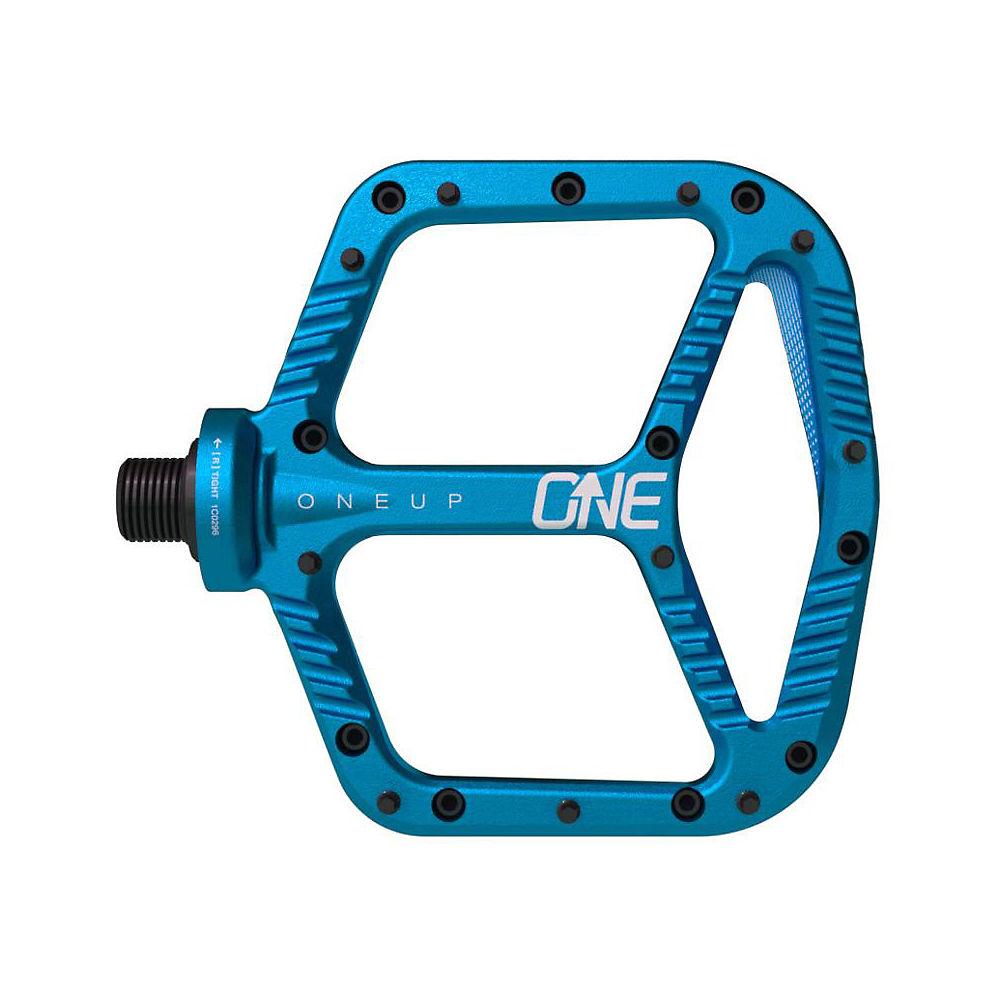 oneup components aluminium flat mtb pedals - blue