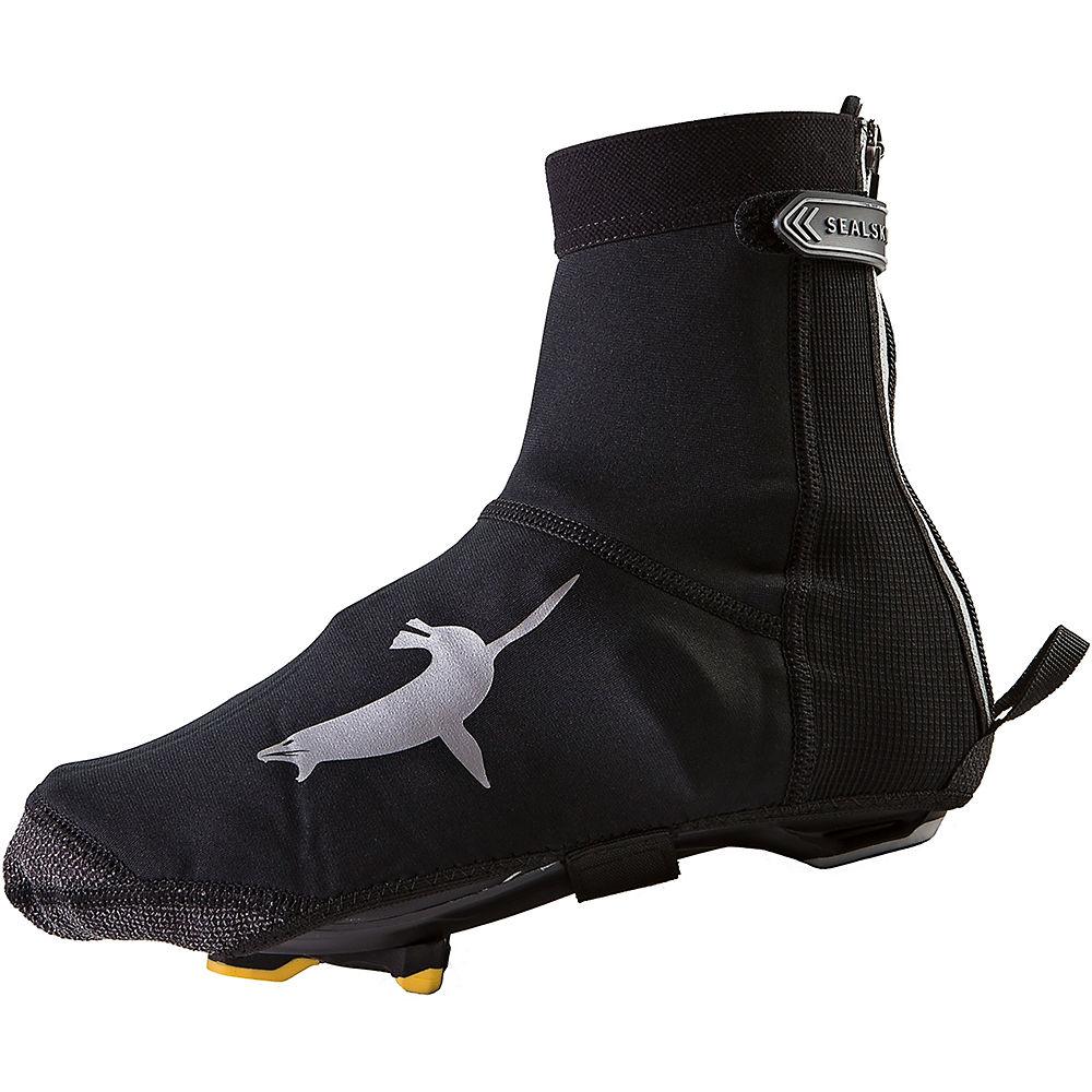Image of Couvre-chaussures SealSkinz (semelle ouverte, néoprène) - Noir - Gris, Noir - Gris