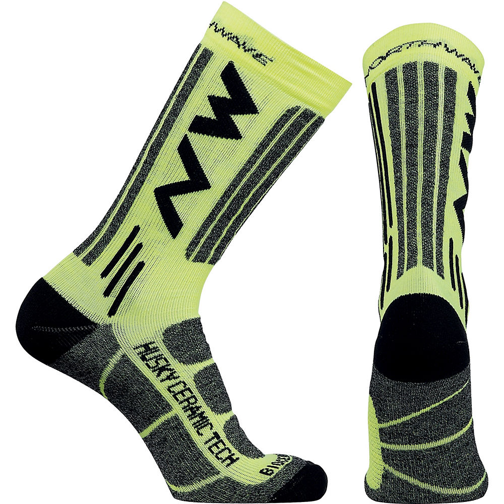 Image of Chaussettes Northwave Husky Ceramic Tech 2 - Jaune Fluo, Jaune Fluo