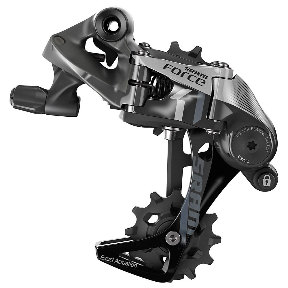 SRAM Force 1 Rear Mech – Silver – Black – Short Cage, Silver – Black