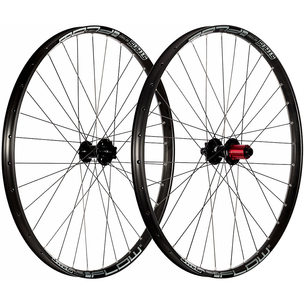Stans No Tubes Flow S1 Mountain Bike Wheelset - Black - Grey - 15 X 110mm Frontand148 X 12mm Rear  Black - Grey