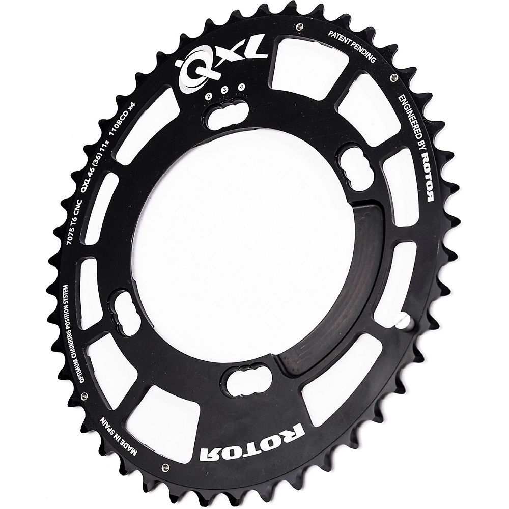 Rotor QXL Chainring (Outer 46 Tooth – Shimano) – Black – 46t, Black