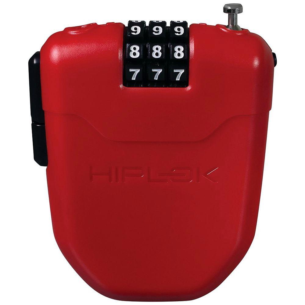 Candado de bici portable Hiplok FX (cable retráctil - 1 m) - Rojo, Rojo