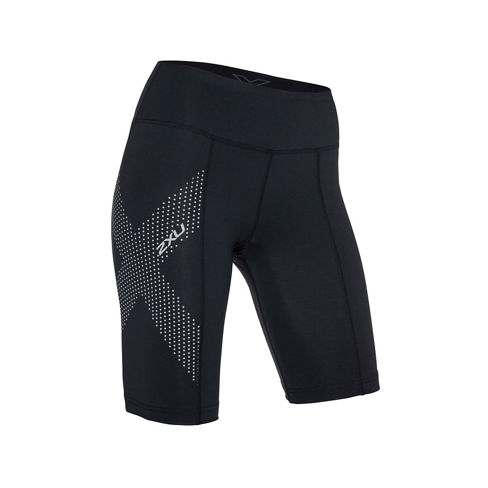 2XU Women's Mid-Rise Compression Shorts  - Black-Dotted Reflective Logo - XS, Black-Dotted Reflective Logo