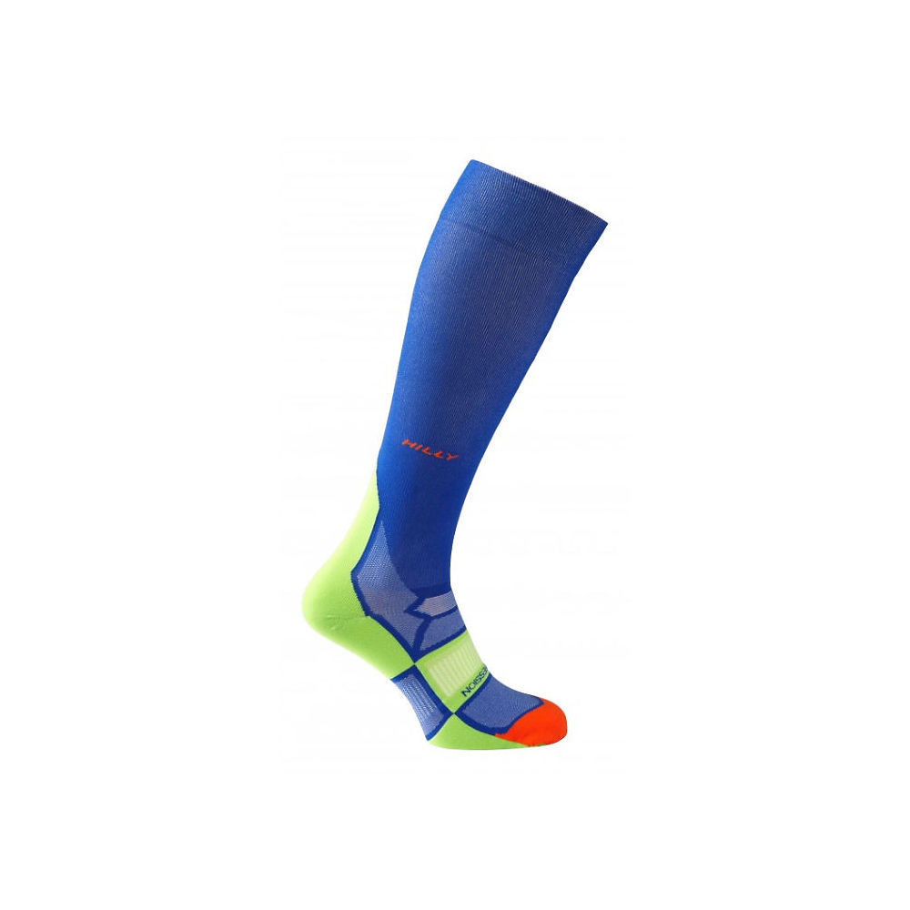 Image of Chaussettes de compression Hilly Pulse - Cobalt-Fluro Green