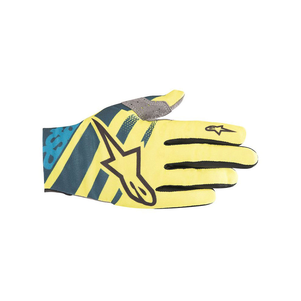 Alpinestars Racer Gloves  - Petrol-Yellow Fluo - XXL, Petrol-Yellow Fluo