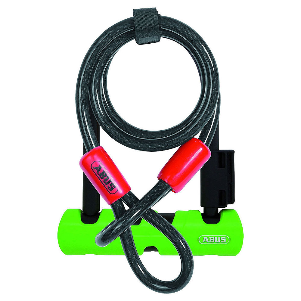 Abus Ultra 410 Mini D-Lock 140mm with Cable - Black-Green, Black-Green