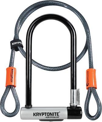 Kryptonite Standard U-Lock & Kryptoflex Cable - Black-Silver - Sold Secure Gold Rated, Black-Silver | cykellås