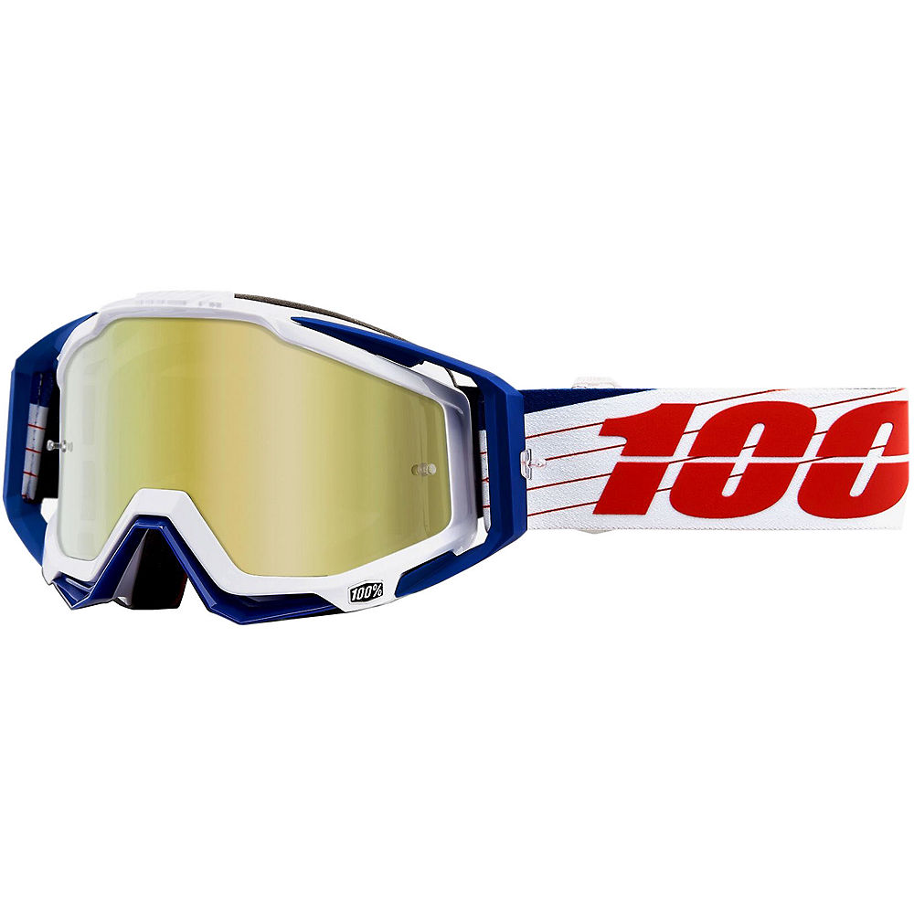 100% Racecraft Goggles - Mirror Lens - Bibal-White  - Mirror True Gold Lens, Bibal-White  - Mirror True Gold Lens