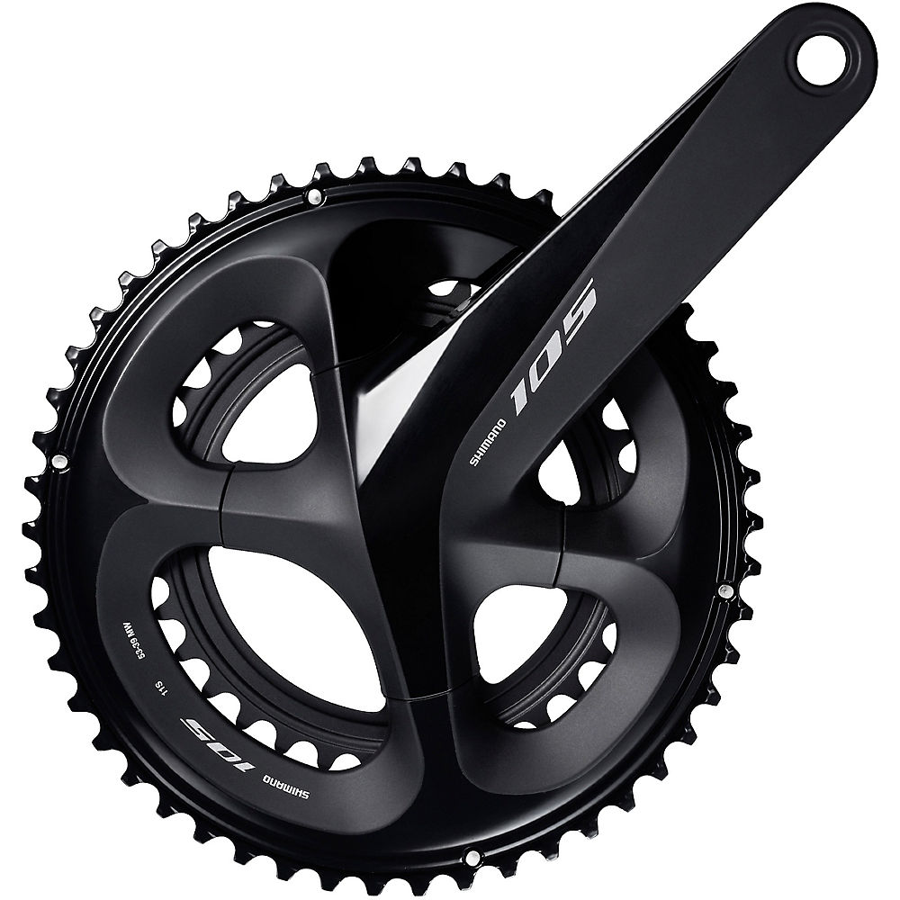 Shimano 105 R7000 11 Speed Road Double Chainset - Black - 53.39t  Black