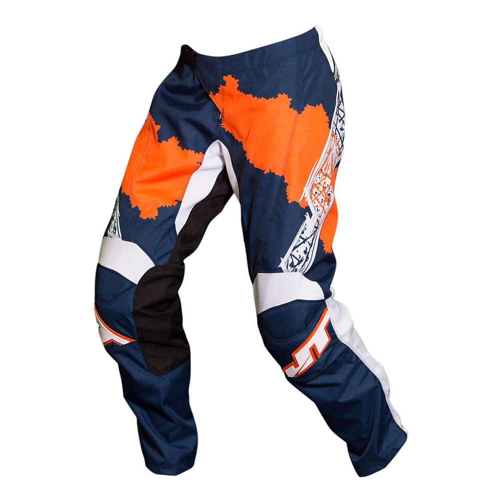 Image of Pantalon JT Racing C4 Ripper 2019 - Bleu marine/Flo Orange - 30, Bleu marine/Flo Orange