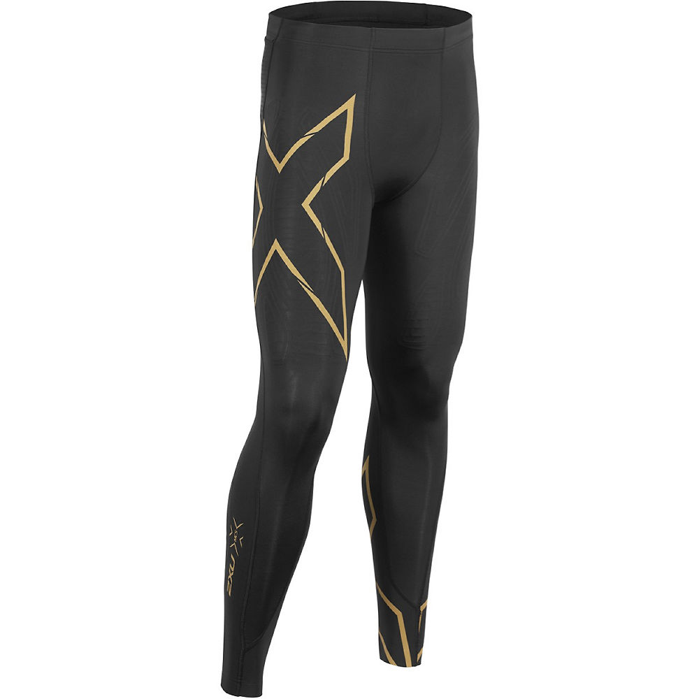 2XU MCS Run Compression Tights - Black-Gold, Black-Gold