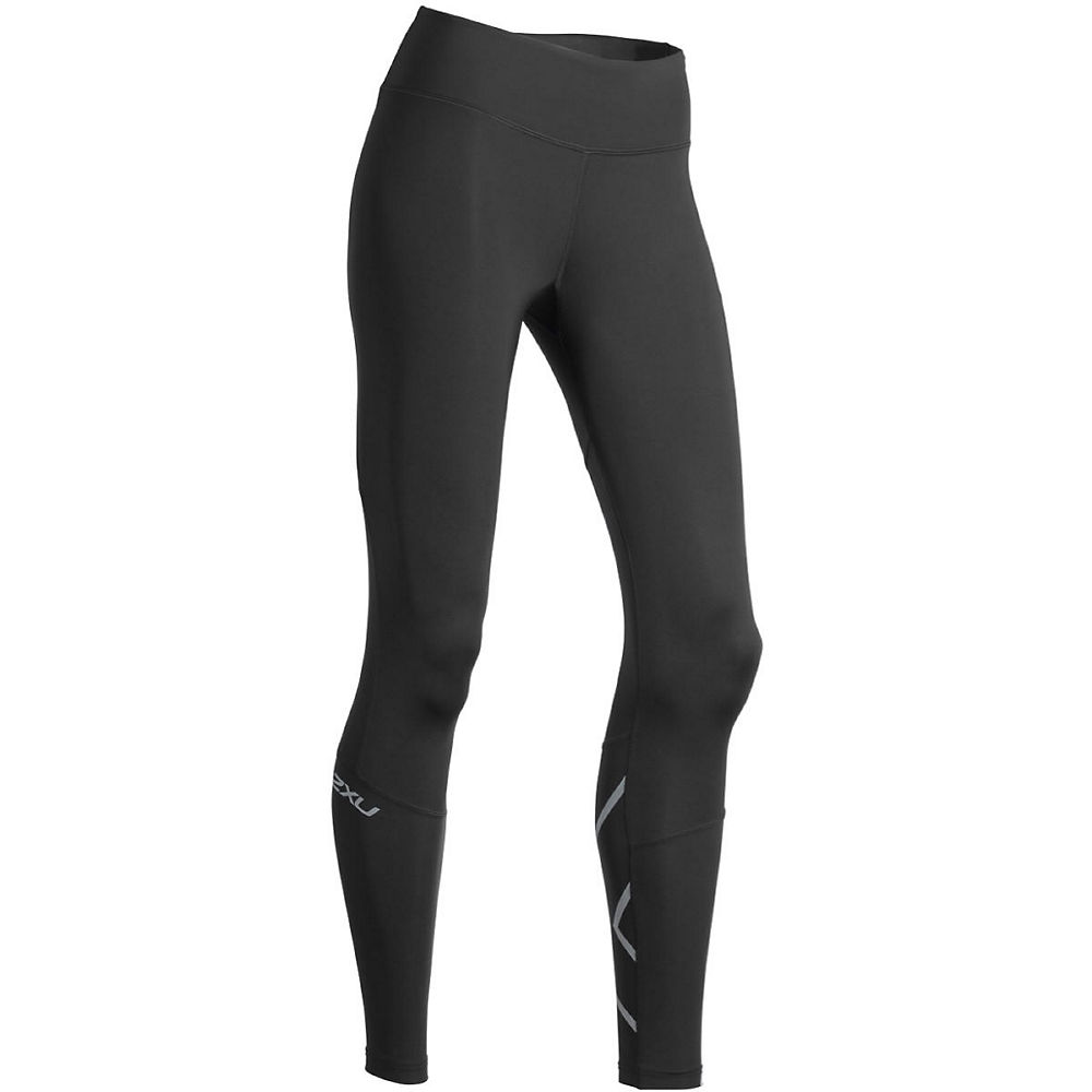 Image of 2XU Women's Run Mid-Rise Compression Tights - Noir/Silver Reflective - XS, Noir/Silver Reflective