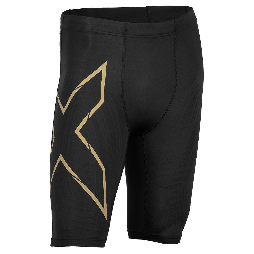 2XU MCS Run Compression Shorts - Black-Gold - XS, Black-Gold