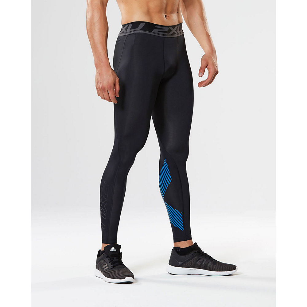 Image of 2XU Accelerate Compression Tights - Noir/Bleu - XXL, Noir/Bleu