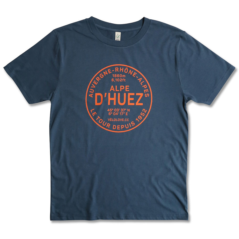 Image of Velolove Alpe d'Huez Organic T-Shirt - Orange-Denim Blue - XL, Orange-Denim Blue