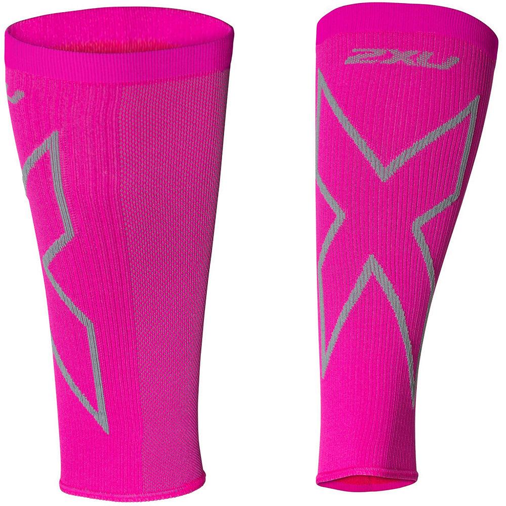 2XU Women's X Compression Calf Sleeves  - Magenta-Grey - XL, Magenta-Grey