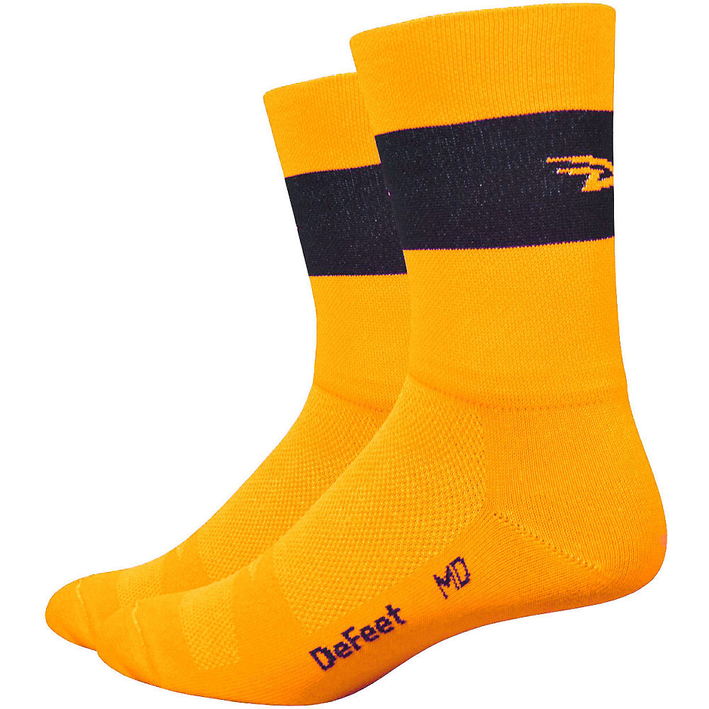 """Image of Defeet Aireator 5"""" Team DeFeet Hi-Vis Socks - Hi Vis Orange-Black, Hi Vis Orange-Black"""