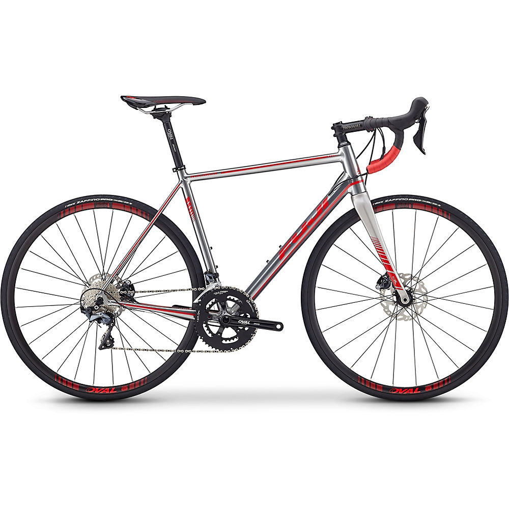 "Bicicleta de carretera Fuji Roubaix 1.3 Disc 2019 - Polished Silver - Red - 49cm (19.25""), Polished Silver - Red"
