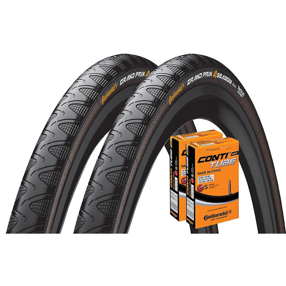 Continental Grand Prix 4 Season 28c Tyres + 2 Tubes – Black – 700c, Black