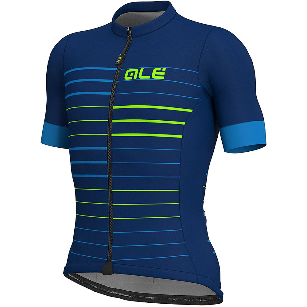 Alé Solid MC Ergo Jersey – Blue-Fluro Green – XL, Blue-Fluro Green