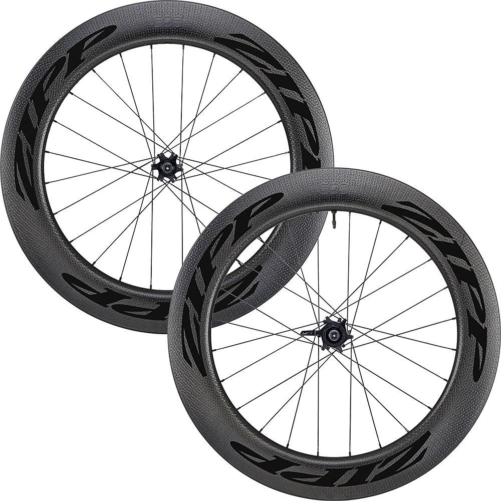 Zipp 808 Firecrest Carbon Disc Road Wheelset - Black - Front: QR & 12mm & 15mm - Rear:  QR & 12x 42mm, Black