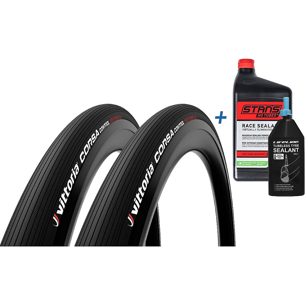 Vittoria Corsa Control G2.0 TL 25c Tyre & Sealant - Full Black - 80ml - 946ml, Full Black