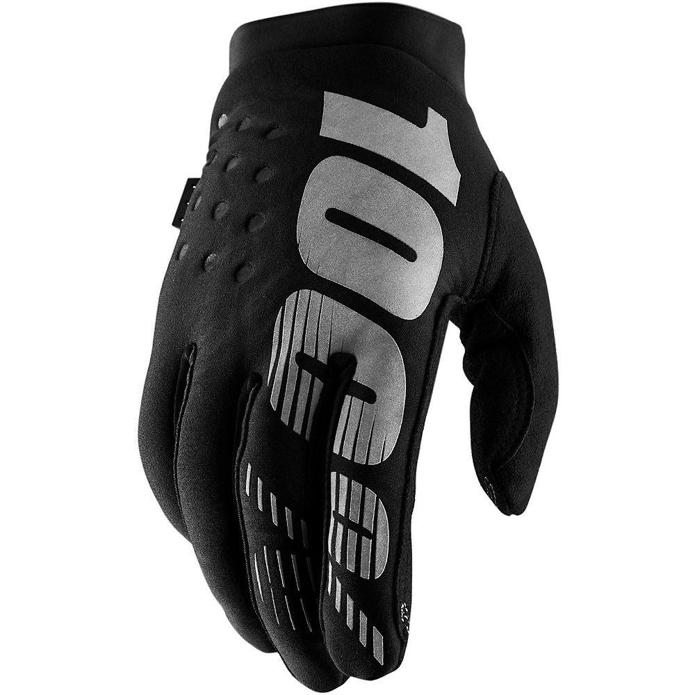 100% Brisker Gloves - Black-Grey, Black-Grey